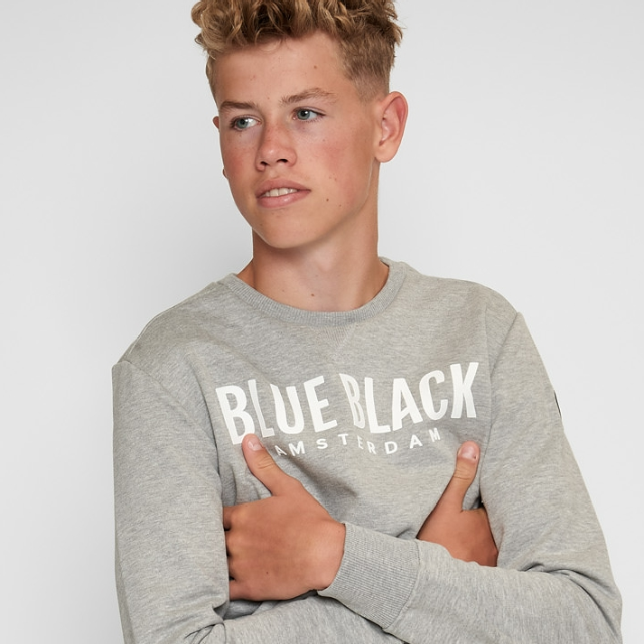 BlueBlack Sweater MILAN 2.0 Grijs Melange back
